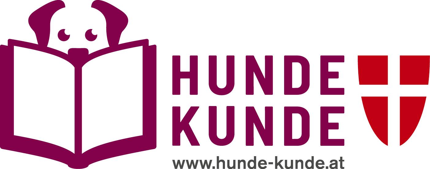 Logo von Hunde-Kunde mit lesendem Hund und Wappen der Stadt Wien
