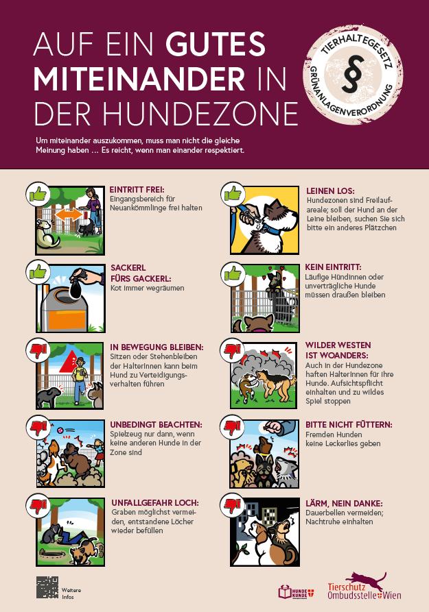 Tafel mit 10 Verhaltensregeln für die Hundezone
